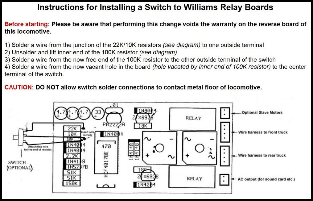 Williams Locomotive Reverse Lock Out Modification on locomotive suspension, locomotive lights, locomotive assembly, locomotive technical drawings, locomotive engineering drawings, locomotive sketches, locomotive dimensions, locomotive parts, locomotive electrical, locomotive tools, locomotive repair, locomotive operating manuals, locomotive battery, locomotive maintenance,